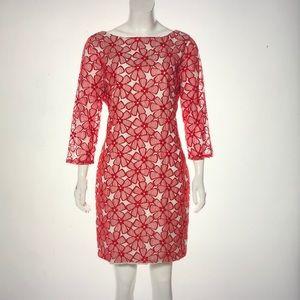 Red and White Diane Von Furstenberg dress. Size 12